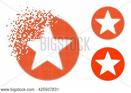 Erosion Pixelated Rounded Star Glyph With Halftone Version. Vector Destruction Effect For Rounded St