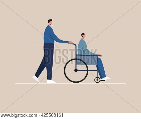 Young Disabled Man Sitting In A Wheelchair. Care, Assistance. Disability People Daily Life. Vector I