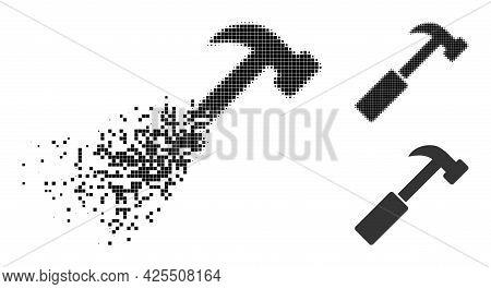 Shredded Pixelated Hammer Pictogram With Halftone Version. Vector Destruction Effect For Hammer Pict