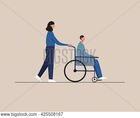 Young Disabled Man Sitting In A Wheelchair. Care, Assistance. Disability People Daily Life.