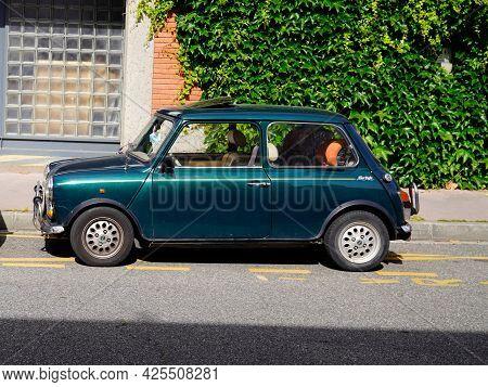 Sète , Ocitanie France  - 06 30 2021 : Mini Cooper After Eight Limited Edition Vintage Oldtimer Clas