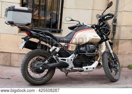 Sète , Ocitanie France  - 06 30 2021 : Moto Guzzi V85 Tt New Retro Motorcycle Trail Modern Motorbike