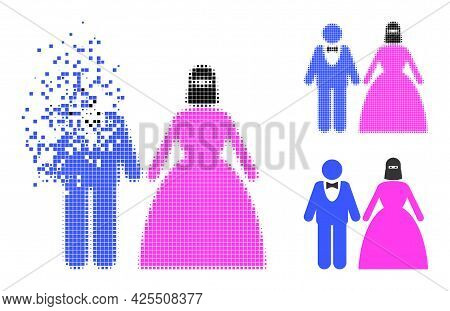 Disappearing Dot Muslim Marriage Couple Glyph With Halftone Version. Vector Destruction Effect For M