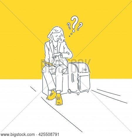 The Girl Is Waiting For Her Flight. A Young Woman With Tickets Is Sitting. The Woman Looks At Her Wa