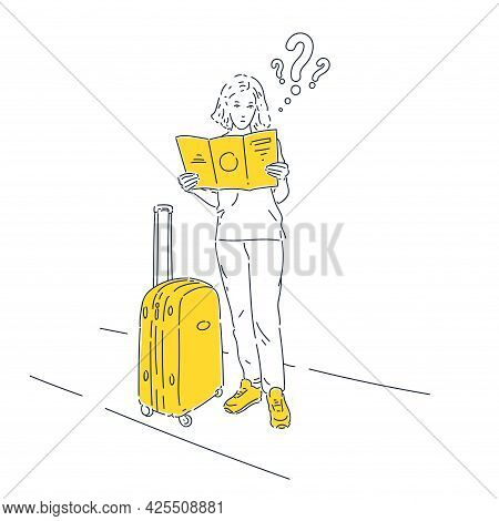 The Girl Is Puzzled And Tries To Figure Out The Route. The Girl Is Going To Travel. A Woman Stands W