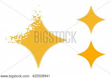 Dispersed Pixelated Space Star Pictogram With Halftone Version. Vector Wind Effect For Space Star Pi