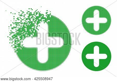 Fragmented Pixelated Veterinary Plus Icon With Halftone Version. Vector Wind Effect For Veterinary P