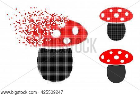Burst Dotted Mushroom Pictogram With Halftone Version. Vector Destruction Effect For Mushroom Pictog