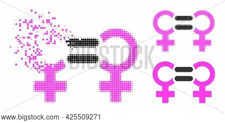 Erosion Dotted Lesbian Relation Symbol Icon With Halftone Version. Vector Wind Effect For Lesbian Re