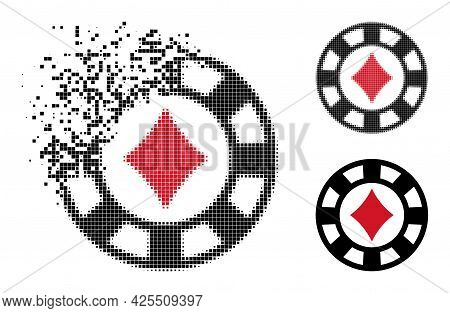 Dissolving Pixelated Diamonds Casino Chip Glyph With Halftone Version. Vector Destruction Effect For
