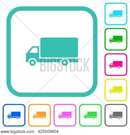 Freight Car Side View Vivid Colored Flat Icons In Curved Borders On White Background