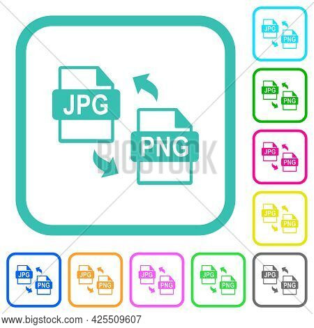 Jpg Png File Conversion Vivid Colored Flat Icons In Curved Borders On White Background