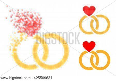 Erosion Dot Wedding Rings Pictogram With Halftone Version. Vector Destruction Effect For Wedding Rin