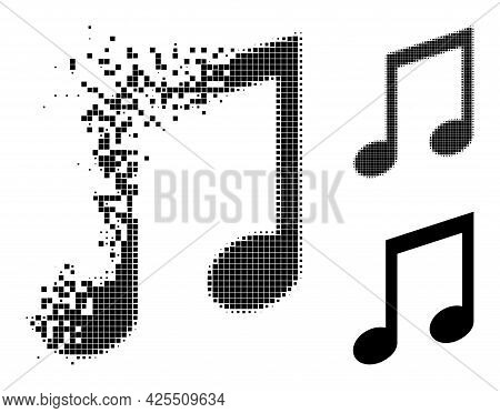Burst Dot Music Notes Pictogram With Halftone Version. Vector Destruction Effect For Music Notes Pic
