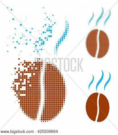 Dispersed Pixelated Smell Coffee Bean Pictogram With Halftone Version. Vector Wind Effect For Smell