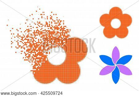 Dust Dotted Flower Icon With Halftone Version. Vector Destruction Effect For Flower Icon. Pixelated