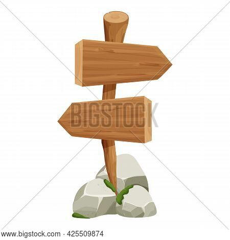 Wooden Pointer, Signboard With Rock, Stone Pile And Moss In Cartoon Style Isolated On White Backgrou