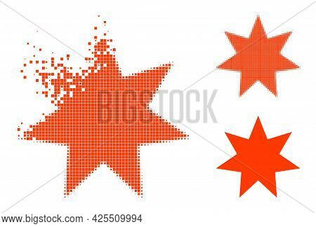 Erosion Dot Seven Pointed Star Icon With Halftone Version. Vector Wind Effect For Seven Pointed Star