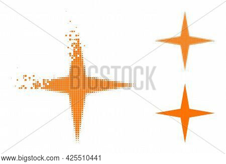Disappearing Pixelated Space Star Pictogram With Halftone Version. Vector Wind Effect For Space Star