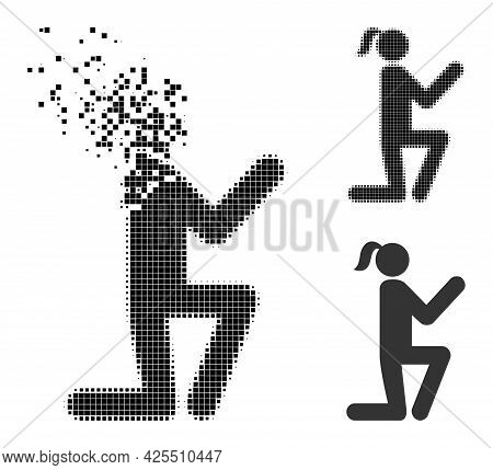 Dissolved Pixelated Knee Standing Girl Icon With Halftone Version. Vector Destruction Effect For Kne