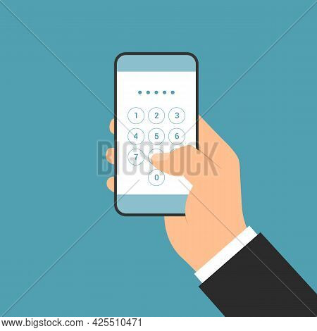 Flat Design Illustration Of Manager Hand Holding Smartphone With Login Screen And Entering Pin Code