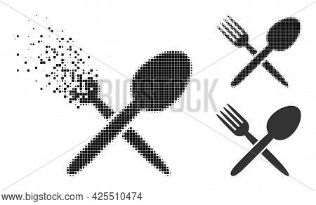 Dissipated Dot Spoon And Fork Pictogram With Halftone Version. Vector Destruction Effect For Spoon A