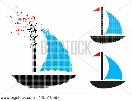 Fragmented Pixelated Sail Boat Pictogram With Halftone Version. Vector Destruction Effect For Sail B