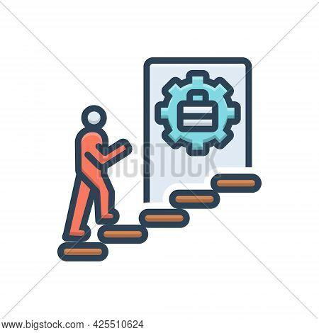 Color Illustration Icon For Career Profession Success Achievement Prosperity