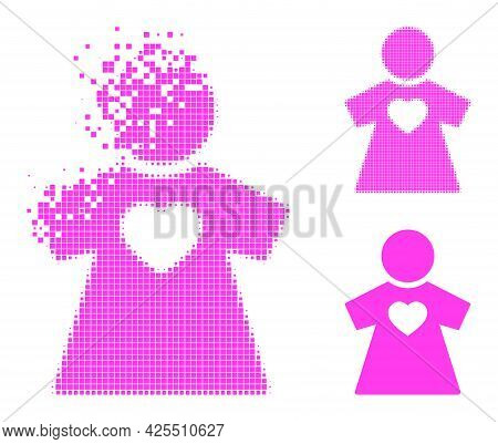 Erosion Pixelated Girlfriend Icon With Halftone Version. Vector Wind Effect For Girlfriend Icon. Pix