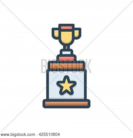 Color Illustration Icon For Winner Award Triumphant Prize Victorious Conquer Vanquish