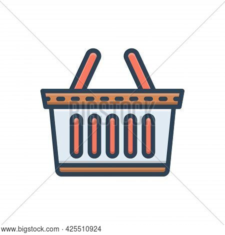Color Illustration Icon For Buy Purchase Basket Buying-cart Shopping