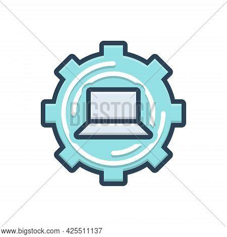 Color Illustration Icon For Restore Return Repayment Reset Technology Laptop Repair