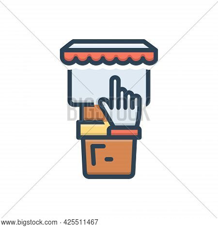 Color Illustration Icon For Kiosks Stand Screen Touchscreen Technology