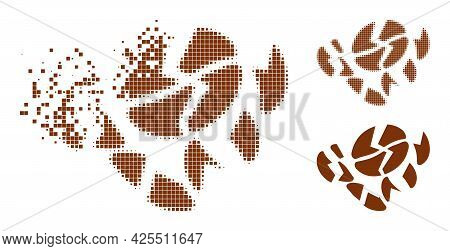 Moving Pixelated Coffee Bean Destruction Pictogram With Halftone Version. Vector Wind Effect For Cof