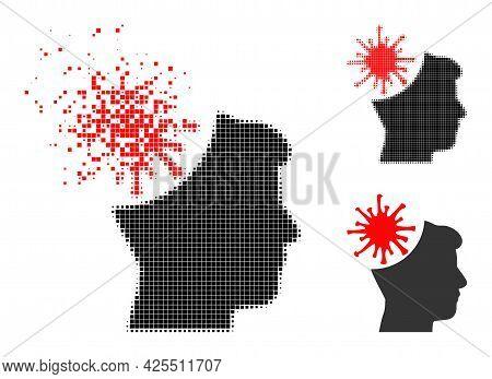 Moving Dot Coronavirus Mad Man Icon With Halftone Version. Vector Destruction Effect For Coronavirus