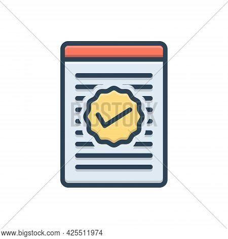 Color Illustration Icon For Checked Checklist Report Checkmark Mark