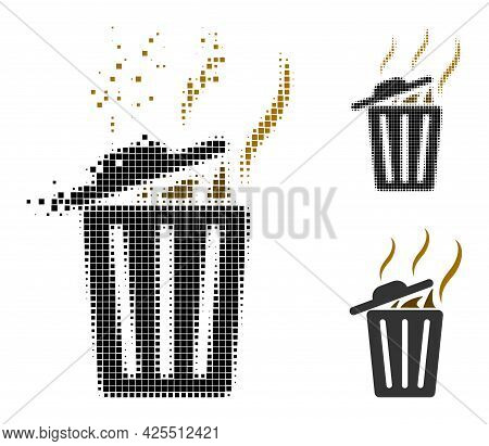 Dispersed Pixelated Smell Trash Can Icon With Halftone Version. Vector Destruction Effect For Smell