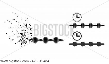 Decomposed Pixelated Timeline Pictogram With Halftone Version. Vector Wind Effect For Timeline Symbo
