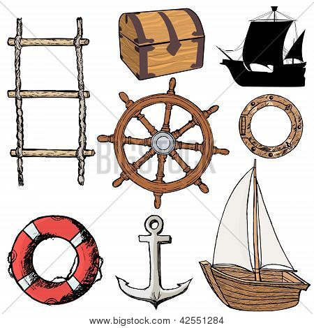 Set Of Marine Objects