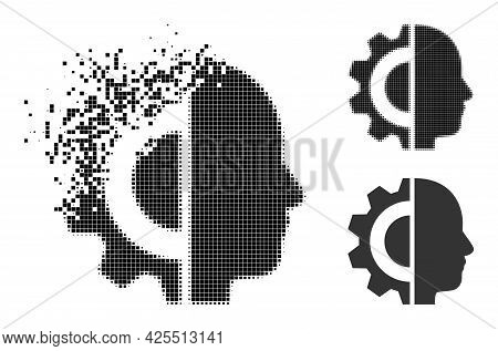 Dust Pixelated Cyborg Head Pictogram With Halftone Version. Vector Wind Effect For Cyborg Head Picto