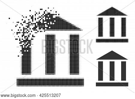 Destructed Pixelated Library Building Icon With Halftone Version. Vector Wind Effect For Library Bui