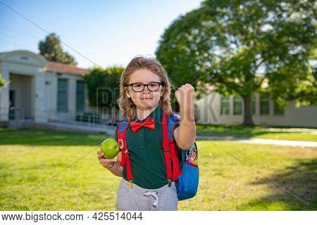 Back To School Concept. Portrait Of Pupil Boy On School Park. Autumn Fall.