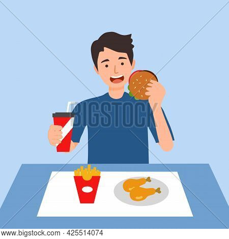 Young Man Eating Fast Food- Hamburger, French Fried, Fried Chicken And Soda Drink In Flat Design. Hu