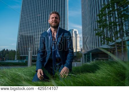 Desperate Man Crying During Bad Business. Angry Businessman Having Bad Work Results. Stressed Busine