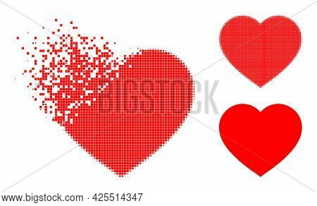 Fragmented Dot Love Heart Pictogram With Halftone Version. Vector Wind Effect For Love Heart Pictogr