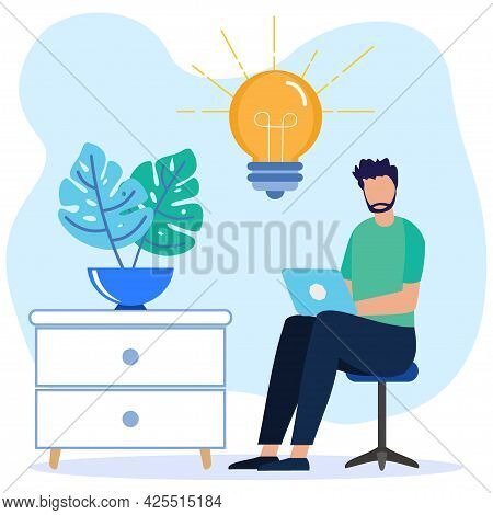 Flat Style Vector Illustration Freelancer, Programmer, Creative Outsource Employee Sitting On Chair