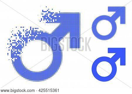 Burst Dot Male Symbol Glyph With Halftone Version. Vector Destruction Effect For Male Symbol Icon. P