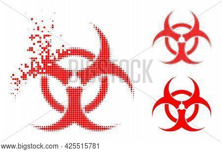 Disintegrating Pixelated Biohazard Pictogram With Halftone Version. Vector Destruction Effect For Bi