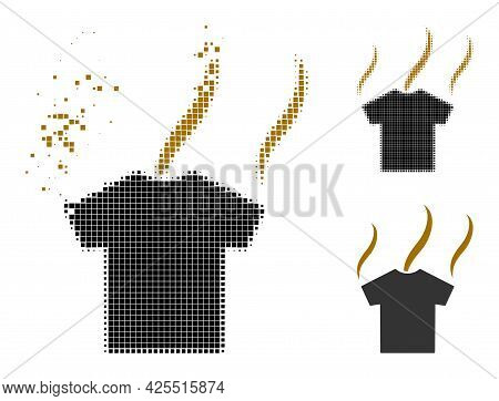 Broken Pixelated Smell T-shirt Pictogram With Halftone Version. Vector Wind Effect For Smell T-shirt