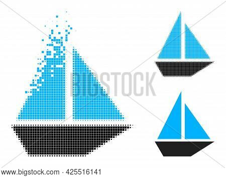 Dissolving Pixelated Yacht Icon With Halftone Version. Vector Wind Effect For Yacht Icon. Pixelated